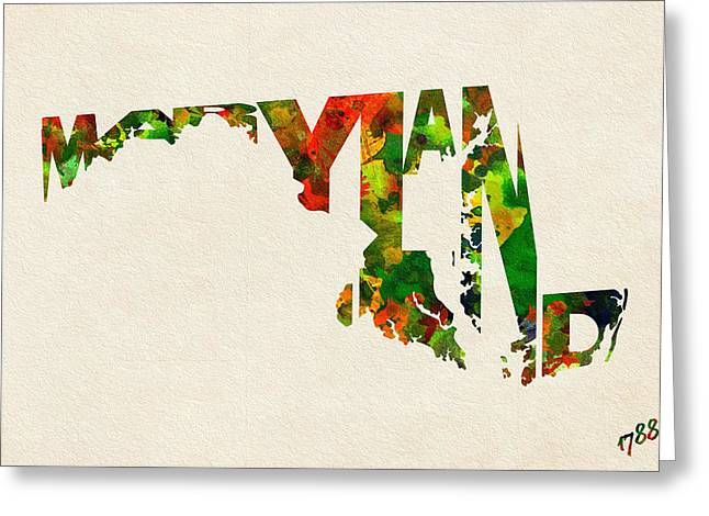 Bizarre Digital Art Greeting Cards - Maryland Typographic Watercolor Map Greeting Card by Ayse Deniz