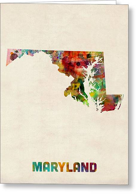 Maryland Watercolor Map Greeting Card by Michael Tompsett