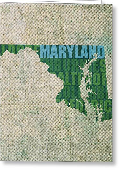 Maryland Greeting Cards - Maryland Word Art State Map on Canvas Greeting Card by Design Turnpike