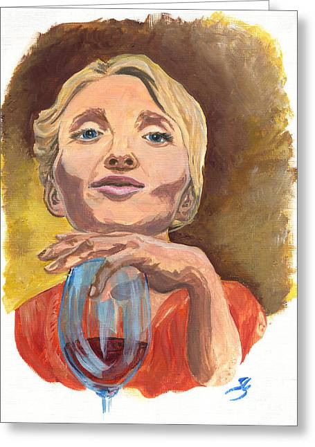 Great Wine Greeting Cards - Marylin Merlot Greeting Card by Jana Goode