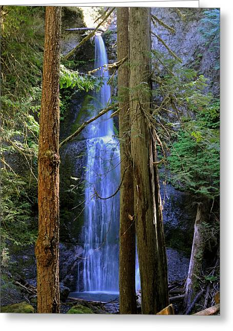 Sea Art Greeting Cards - Marymere Falls Greeting Card by SEA Art