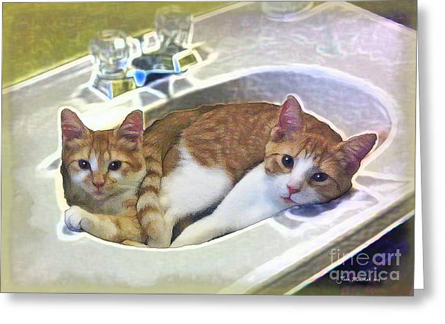 Mary's Cats Greeting Card by Joan  Minchak