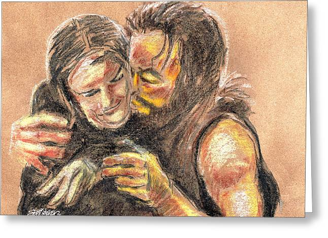 Bible Pastels Greeting Cards - Marys Kiss Greeting Card by Seth Weaver