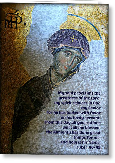Mary's Magnificat Greeting Card by Stephen Stookey