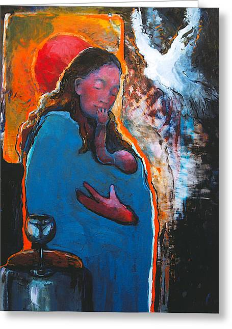Mary's Pondering Greeting Card by Daniel Bonnell