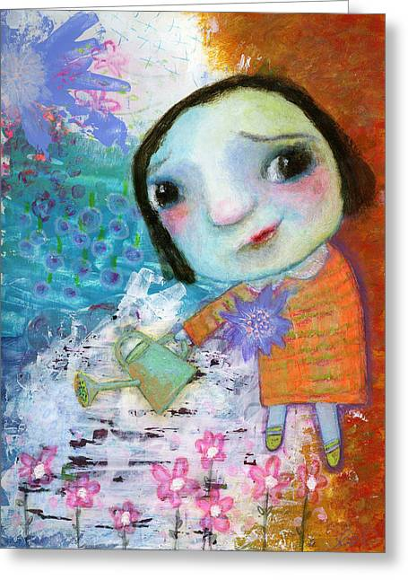Nursery Rhyme Mixed Media Greeting Cards - Marys quite contrary Greeting Card by Shirley Dawson