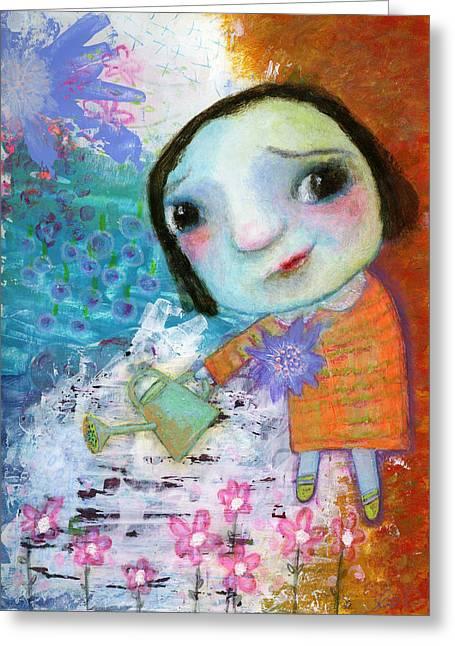 Mary Mary Quite Contrary Mixed Media Greeting Cards - Marys quite contrary Greeting Card by Shirley Dawson