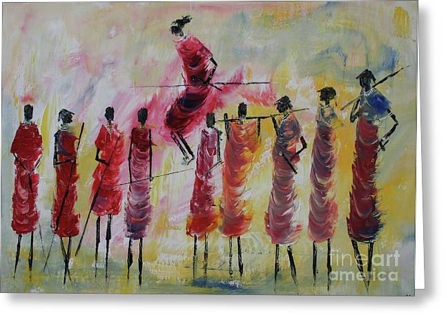 Massachusetts Artist Greeting Cards - Masai Jumping Greeting Card by Abu Artist