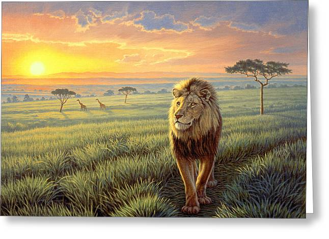 Lions Greeting Cards - Masai Mara Sunset Greeting Card by Paul Krapf