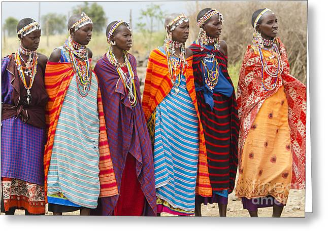 Beaded Jewelry Greeting Cards - Masai Women Kenya Greeting Card by Bill Bachmann
