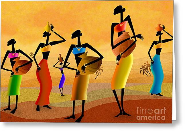 National Mixed Media Greeting Cards - Masai Women Quest For Water Greeting Card by Bedros Awak