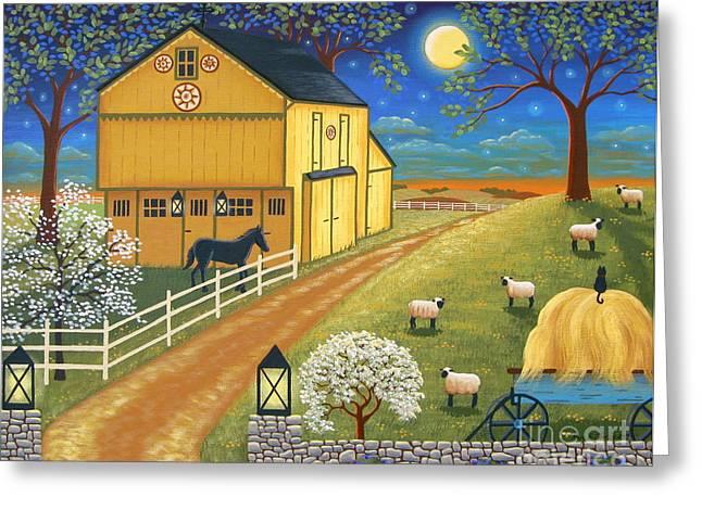 Mascot Paintings Greeting Cards - Mascot Mills Barn Greeting Card by Mary Charles