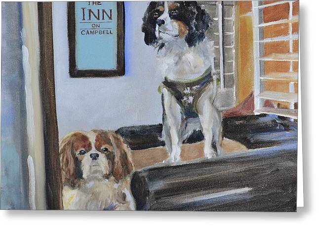 Puppies Greeting Cards - Mascots of The Inn Greeting Card by Donna Tuten