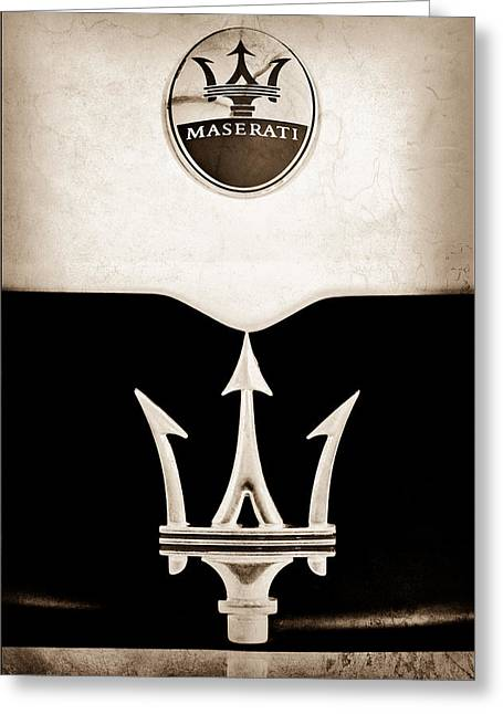 Maserati Greeting Cards - Maserati 2005 MC12 Grille Emblem Greeting Card by Jill Reger