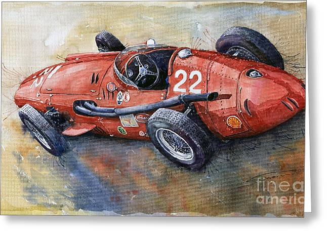 Vintage Auto Greeting Cards - Maserati 250 F 1957  Greeting Card by Yuriy  Shevchuk