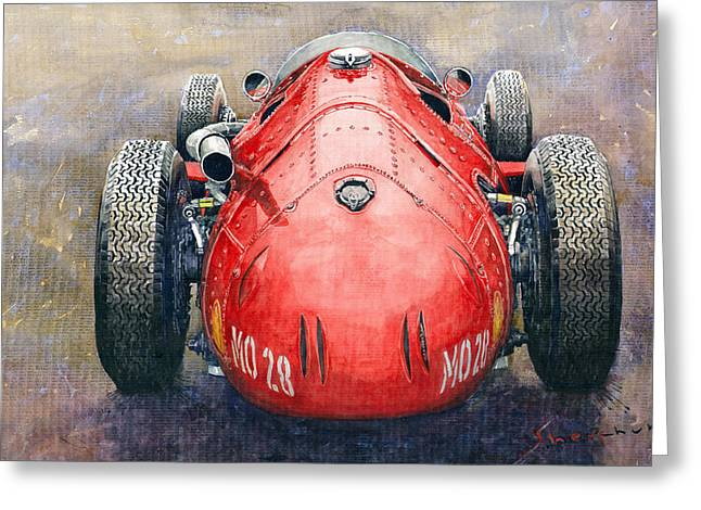 Back View Greeting Cards - Maserati 250F Back View Greeting Card by Yuriy Shevchuk