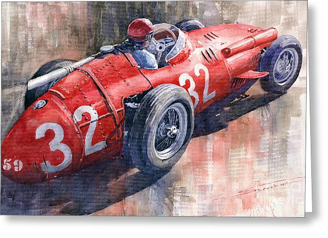 Maserati Greeting Cards - Maserati 250F J M Fangio Monaco GP 1957 Greeting Card by Yuriy  Shevchuk