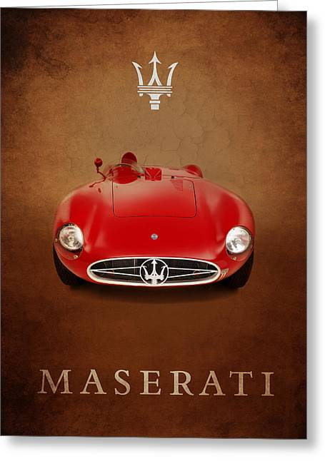 Maserati Greeting Cards - Maserati 300 S Greeting Card by Mark Rogan