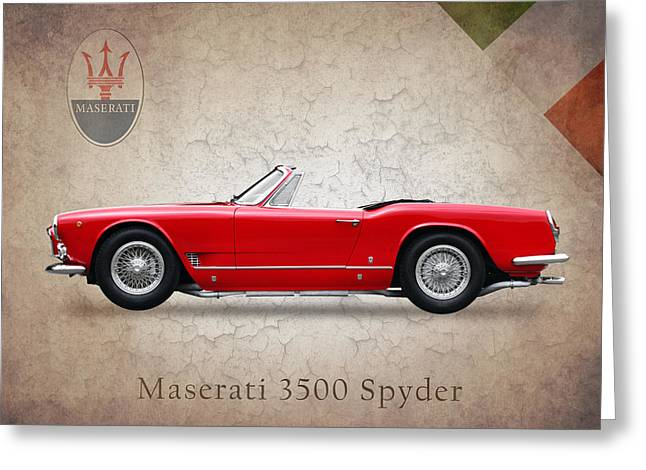 Maserati Greeting Cards - Maserati 3500 Spyder 1959 Greeting Card by Mark Rogan