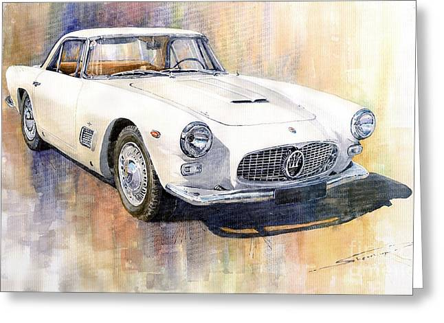 Vintage Cars Greeting Cards - Maserati 3500GT Coupe Greeting Card by Yuriy  Shevchuk