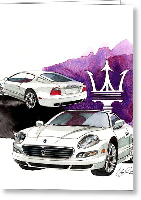 Maserati Greeting Cards - Maserati GT Greeting Card by Yoshiharu Miyakawa