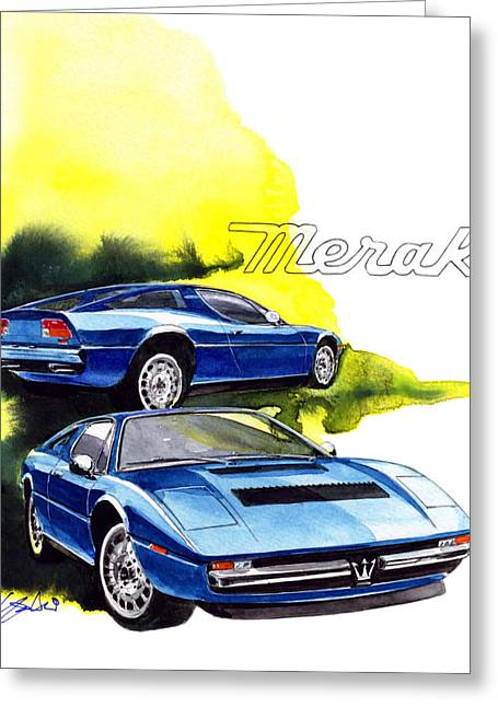 Maserati Greeting Cards - Maserati Merak Greeting Card by Yoshiharu Miyakawa