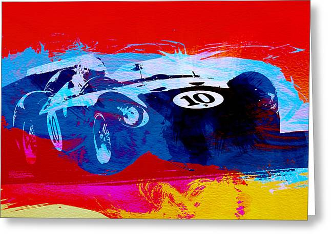 Italian Classic Car Greeting Cards - Maserati on the Race Track 1 Greeting Card by Naxart Studio