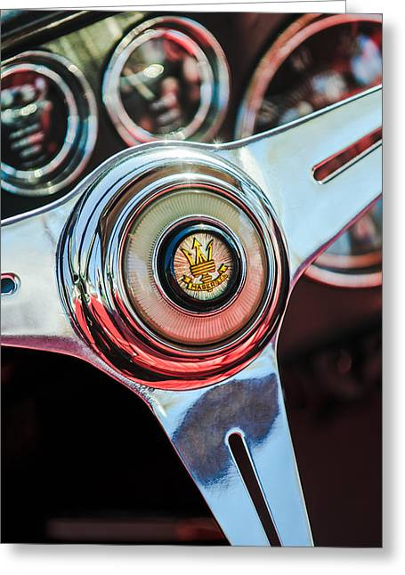Maserati Greeting Cards - Maserati Steering Wheel Emblem Greeting Card by Jill Reger