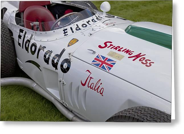Single Seater Greeting Cards - Maserati Tipo 420 M 58 Eldorado 1958 Greeting Card by Maj Seda