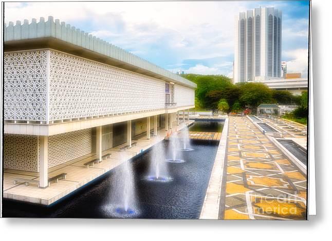 Muslem Greeting Cards - Masjid Negara - Malaysias modern National Mosque Greeting Card by David Hill