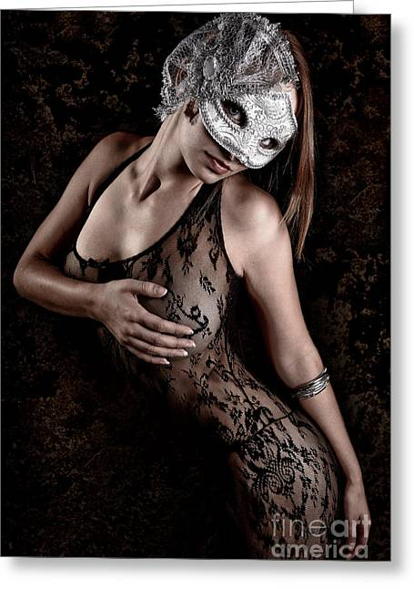 Conceal Greeting Cards - Mask and Lace Greeting Card by Jt PhotoDesign