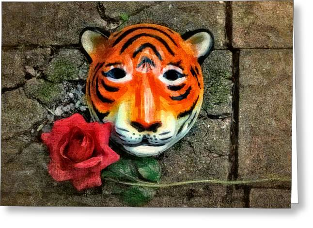 Asian Tiger Greeting Cards - Mask and Rose Greeting Card by Jeff  Gettis