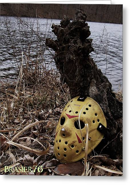 Jason Voorhees Greeting Cards - Mask by the Lake Greeting Card by Ryan Brasier