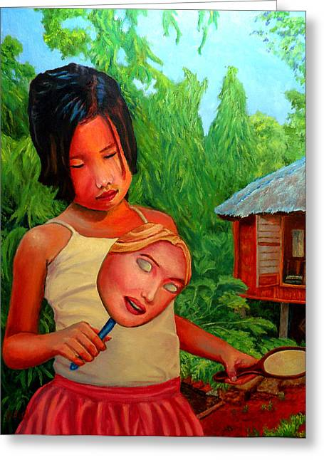 Filipina Greeting Cards - Mask Greeting Card by Michael Jadach