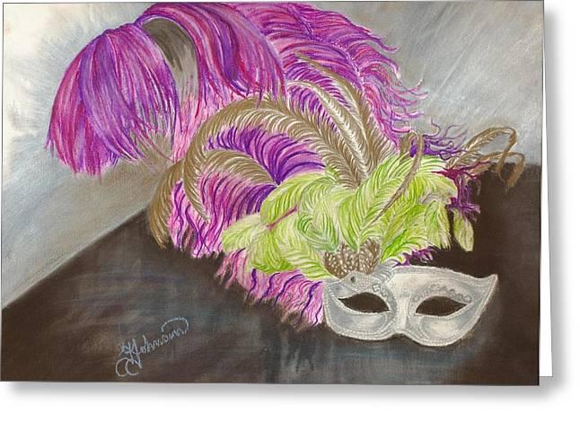 Silver Eye Shadow Greeting Cards - Mask Greeting Card by Yolanda Raker