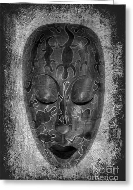 Wooden Sculpture Greeting Cards - Masked Greeting Card by Clare Bevan