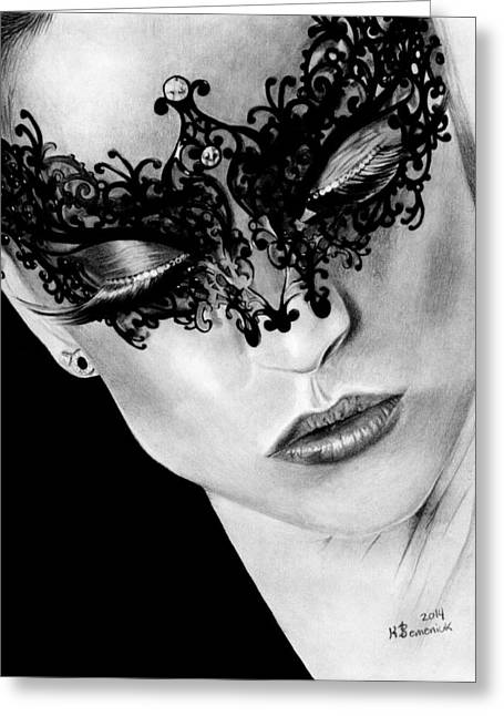 Ballet Dancers Drawings Greeting Cards - Masked Dance Greeting Card by Kayleigh Semeniuk