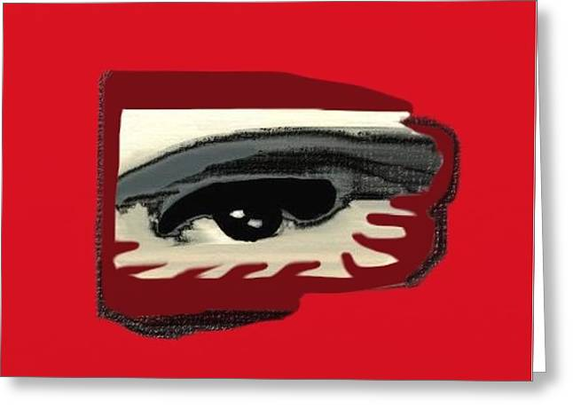 Eyelash Greeting Cards - Masked eye distorted vision Greeting Card by Frances Lewis