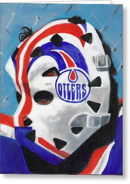 Hockey Paintings Greeting Cards - Masked Fuhr Greeting Card by Paul Smutylo