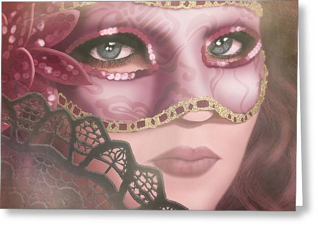 Mask Greeting Cards - Masked IV Greeting Card by April Moen