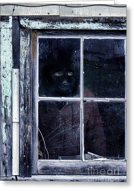 Frightful Greeting Cards - Masked Man Looking Out Window Greeting Card by Jill Battaglia