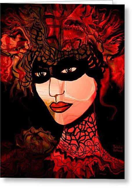 Collar Mixed Media Greeting Cards - Masked Woman Greeting Card by Natalie Holland