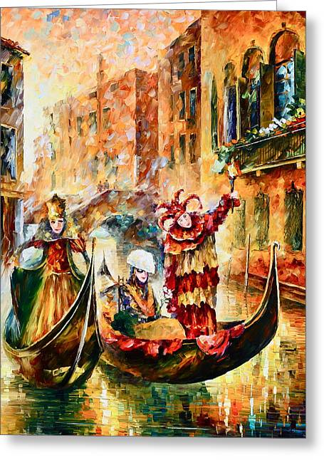 Venecia Greeting Cards - Masks of Venice Greeting Card by Leonid Afremov