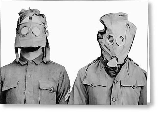 Trench Warfare Greeting Cards - MASKS of WAR Greeting Card by Daniel Hagerman