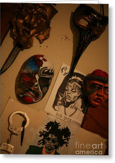 Basquiat Drawings Greeting Cards - Masks on Wall Greeting Card by J Ethan Hopper