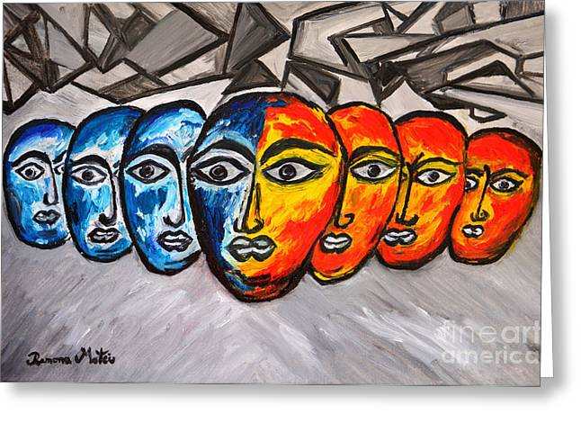 Opposition Paintings Greeting Cards - Masks Greeting Card by Ramona Matei
