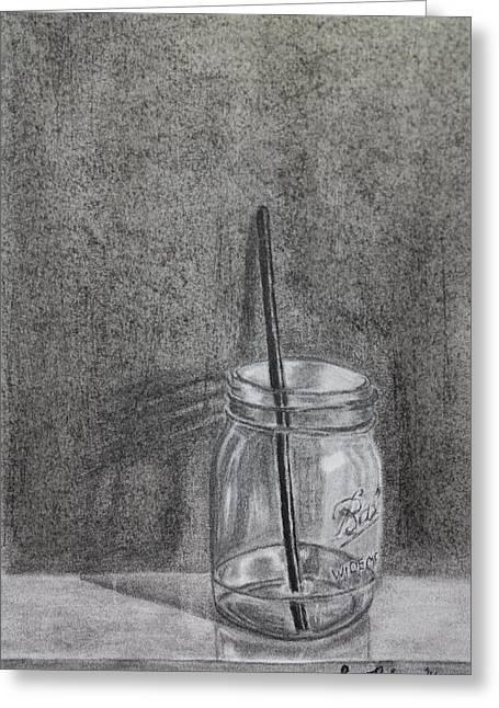Mason Jars Drawings Greeting Cards - Mason Jar Greeting Card by Sara DeForge