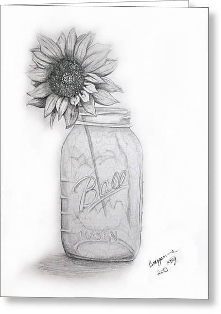 Mason Jars Drawings Greeting Cards - Mason Jar Vase Greeting Card by Breyanna King