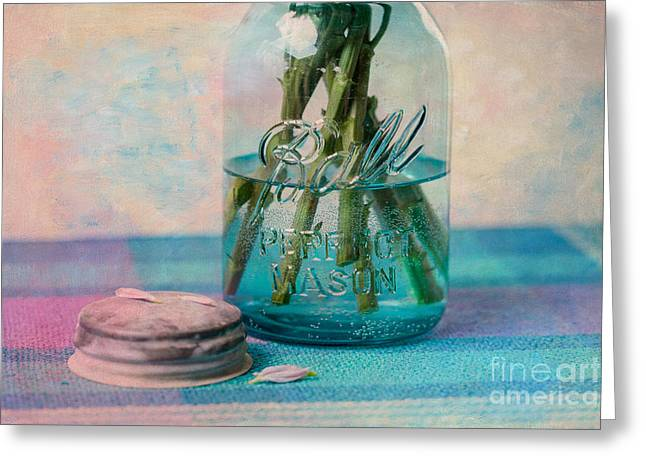 Water Jars Greeting Cards - Mason Jar Vase Greeting Card by Kay Pickens