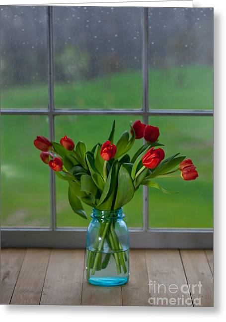 Canning Jars Greeting Cards - Mason Jar with Tulips Greeting Card by Kay Pickens